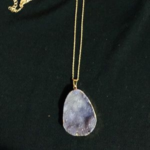Grey/purple Natural Stone Necklace *NEW*